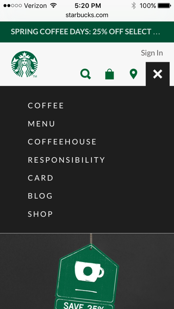 "Since users can't see any submenus, they have to guess what ""Menu"" means. The ""Menu"" label conventionally means global navigation in mobile sites."