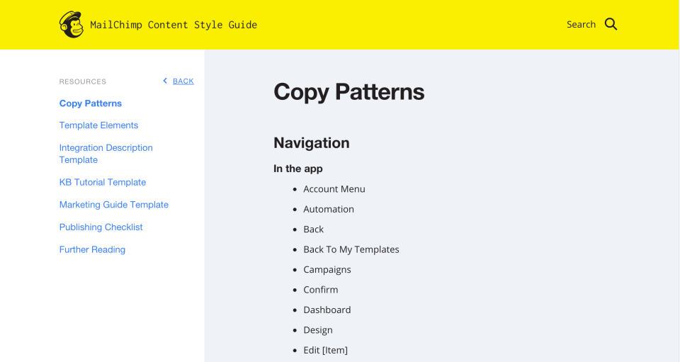Mailchimp's style guide lists copy patterns that designers, developers, and writers can reuse.